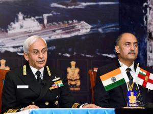 Chief of Naval Staff, Admiral Sunil Lanba addresses a press conference