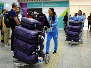 Members of the Indian Olympic delegation arrive at Rio de Janeiro International Airport