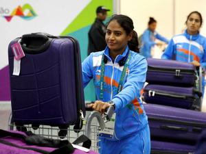 Poonam Rani of the Indian Olympic delegation arrives at Rio de Janeiro International Airport