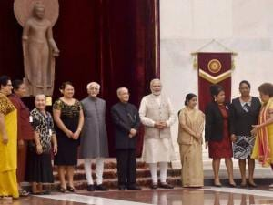 Pranab Mukherjee during  2nd Summit of Forum for India-Pacific Island Countries at Rashtrapati Bhavan