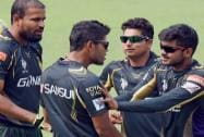 KKR players during a practice session at Eden Garden in Kolkata