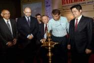 "Railway Minister Suresh Prabhu lighting the lamp at the ASSOCHAM Conference on ""Railways@2020"""