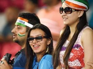 people gathered during the ICC T20 World Cup against Bangladesh at Chinnaswamy Stadium in Bengaluru