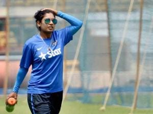 India's Women Cricket team's skipper Mithali Raj at a practice session ahead of the Women's World T20 match at Chinnaswamy stadium