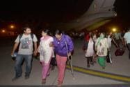 Indians evacuated from earthquake hit Nepal arrive  at Air Force Station