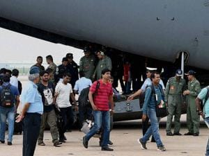 Indians evacuated from South Sudan arrive at AFS Palam,