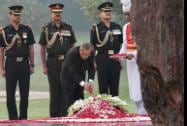 President Pranab Mukherjee paying homage to the former Prime Minister Indira Gandhi on her 30th death anniversary