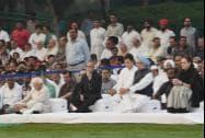President Pranab Mukherjee, Vice President Hamid Ansari, Congress President Sonia Gandhi, former Prime Minister Manmohan Singh, Rahul Gandhi
