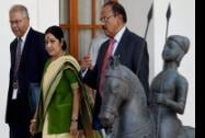 External Affairs Minister Sushma Swaraj, NSA Ajit Doval and India's ambassador