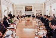 Prime Minister Narendra Modi and Chinese President Xi Jinping during a delegation level meeting at Hyderabad House
