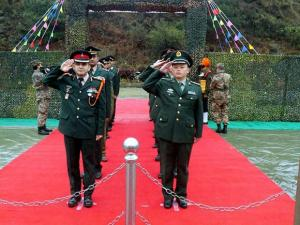 Officers of Indian and Chinese armies at a goodwill border meeting in Damai in the South Eastern province of China bordering Arunachal Pradesh