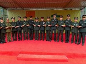 Officers of Indian and Chinese armies at a goodwill border meeting in Damai in the South_Eastern province of China bordering Arunachal Pradesh