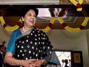 Indra Nooyi at a traditional south-Indian eatery
