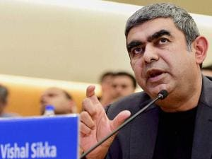 Infosys CEO Vishal Sikka speaks during the announcement of the 2nd quarter financial results
