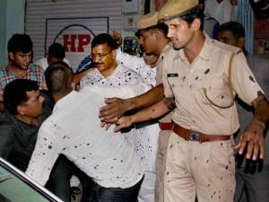 Delhi CM Arvind Kejriwal after ABVP workers threw ink on him in Bikaner