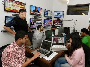 Samajwadi Party President Akhilesh Yadav's war room setup at Janeshwar Mishra Trust office