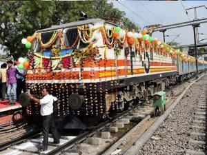 The newly launched Gatimaan Express at Hazrat Nizammuddin railway station in New Delhi.