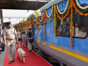 The newly launched Gatimaan Express, at Hazrat Nizamuddin railway station in New Delhi.