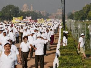 Senior citizens  during HelpAge India's  annual Walkthon