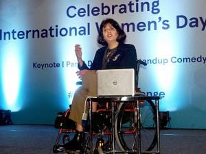 Paralympic medalist Deepa Malik speaks at a programme to celebrate International Women's Day in Bengaluru
