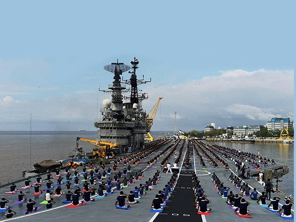 sailors, sailors of Indian Navy, INS Viraat, Indian Navy, International Yoga day, World Yoga Day
