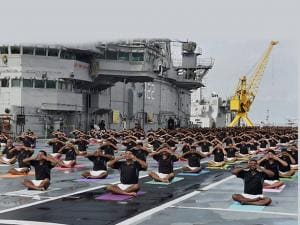 International Yoga day Officers and sailors perform Yoga on INS Viraat_02