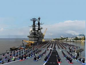 International Yoga day Officers and sailors perform Yoga on INS Viraat_03