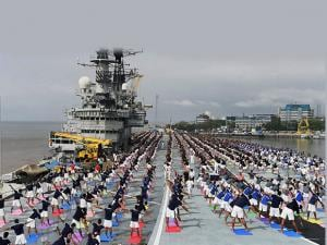 International Yoga day Officers and sailors perform Yoga on INS Viraat_04
