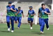 Rajasthan Royals players during a practice session in Mumbai