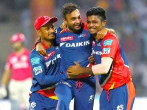 Delhi Daredevils' Amit Mishra celebrate wicket  of  Kings XI Punjab  batsman DA Miller during their IPL match at Feroz Shah Kotla Stadium_in New Delhi.