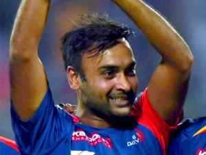 Delhi Daredevils' Amit Mishra celebrate wicket  of  Kings XI Punjab  batsman DA Miller during their IPL match at Feroz Shah Kotla Stadium in New Delhi.