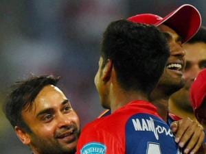 Delhi Daredevils' Amit Mishra celebrate wicket  of  Kings XI Punjab  batsman DA Miller during their IPL match at Feroz Shah_Kotla Stadium in New Delhi.