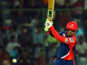 Delhi Daredevils batsman Quinton de Kock  plays a shot during their IPL match against Kings XI Punjab at Feroz Shah Kotla Stadium in New Delhi.