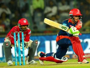 Delhi Daredevils batsman Quinton de Kock _plays a shot during their IPL match against Kings XI Punjab at Feroz Shah Kotla Stadium in New Delhi.