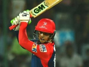 Delhi Daredevils batsman_Quinton de Kock  plays a shot during their IPL match against Kings XI Punjab at Feroz Shah Kotla Stadium in New Delhi