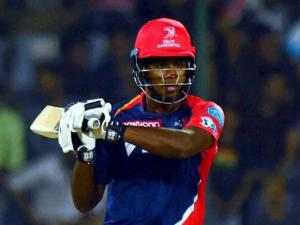 Delhi Daredevils batsman Sanju Samson plays a shot_during their IPL match against Kings XI Punjab at Feroz Shah Kotla Stadium in New Delhi