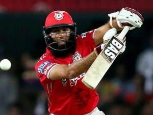 Hashim Amla of Kings XI Punjab plays a shot against Mumbai Indians