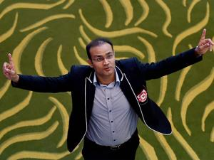 King's XI Punjab team Mentor Virendra Sehwag during the IPL Auction 2017