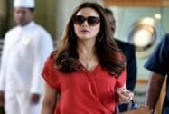 Kings XI Punjab co-owner Preity Zinta arrives to take part at the IPL Season 8 auction