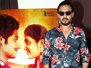 Bollywood actor Irrfan Khan poses during the special screening of Marathi film Sairat, in Mumbai