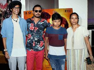 Bollywood actor Irrfan Khan with his family during the special screening of Marathi film Sairat