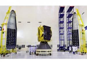GSAT-9 seen with two halves of payload faring of GSLV-F09