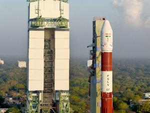PSLV-C37, which will carry104 satellites, on the eve of its launch at the spaceport in Sriharikota