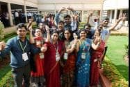 ISRO scientists and other officials celebrate the success of Mars Orbiter Mission