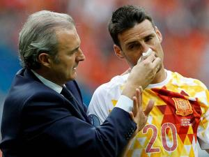 Spain's Aritz Aduriz receives assistance  during the Euro 2016