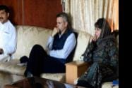 J&K Chief Minister Omar Abdulllah with PDP leader Mehbooba Mufti and BJP MLA  Jugal Kishore