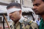 A BSF jawan injured during shelling from Pakistani side being taken to a government hospital