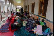 Flood-affected people at a relief camp at a gurdwara in Srinagar
