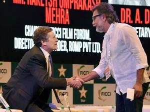 Rakeysh Omprakash Mehra with Mayor of Toronto, Canada John Tory during the FICCI FRAMES 2017