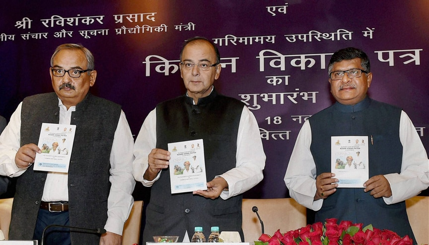 Union Finance Minsiter Arun Jaitley, Union Communications & Information Technology Minister Ravi Shankar Prasad, launch Kisan Vikas Patra, (KVP), New Delh